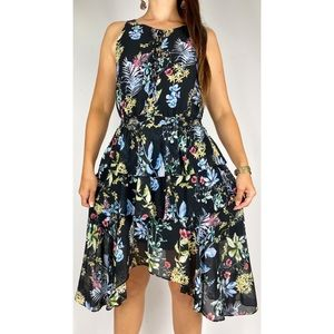 FOREVER NEW Black Floral Print Handkerchief Hem Layered Dress Plus Size AU 16